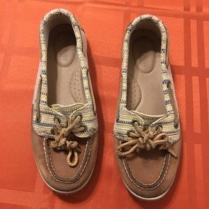 Sperry Leather Fabric Striped Flats Sz 6M